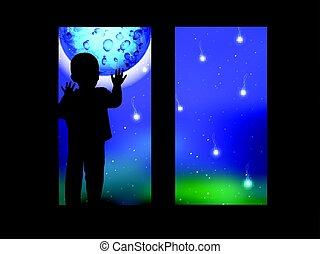 espace, lune, regarder, fenêtre, enfant, dehors