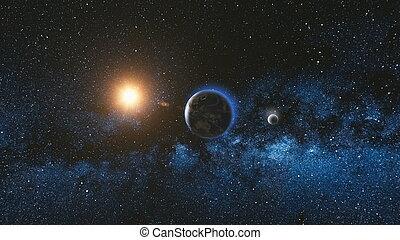 espace, lune, terre planète, levers de soleil, vue
