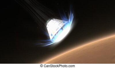 "espace, mars."", rendre, descendre, capsule, ""artist"