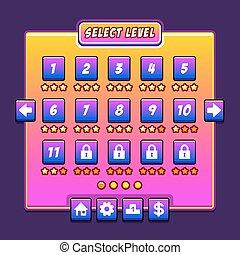 espace, menu, niveau, jeu, ui, interface, panneaux