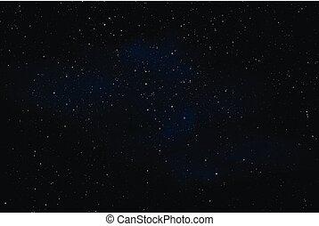 espace, nébuleuse, ciel, illustration, sombre, réaliste, vecteur, étoiles, nuit, ou