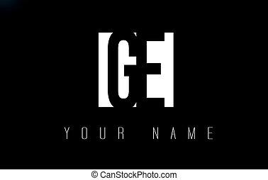 espace, négatif, ge, noir, lettre, logo, blanc, design.