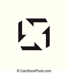 espace, négatif, vecteur, flèche, logo, turbine