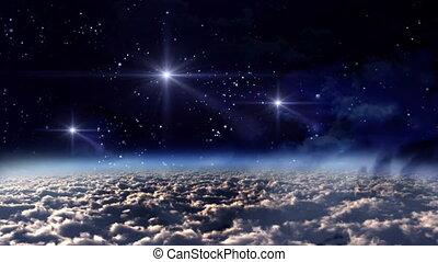 espace, nuit, étoiles, blanc
