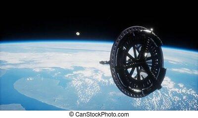espace, orbiter, futuriste, satellite, la terre