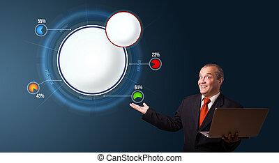 espace, ordinateur portable, moderne, diagramme, tarte, présentation, tenue, complet, homme affaires, copie, résumé