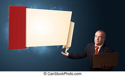espace, ordinateur portable, moderne, homme affaires, présentation, tenue, complet, origami, copie