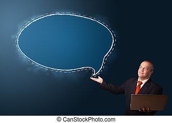 espace, ordinateur portable, parole, présentation, tenue, complet, homme affaires, copie, bulle