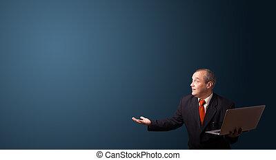 espace, ordinateur portable, présentation, tenue, homme affaires, copie