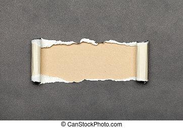 espace, papier déchiré, beige, message, ton
