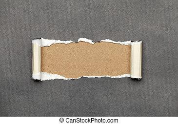 espace, papier déchiré, message, ton, frisé