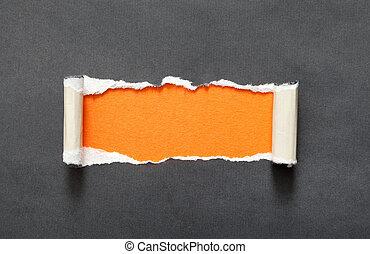 espace, papier déchiré, orange, message, ton
