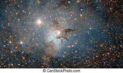 espace, par, champs, galaxie, voyager, étoile, lointain