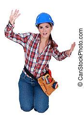 espace, piégé, ouvrier, construction, femme, petit