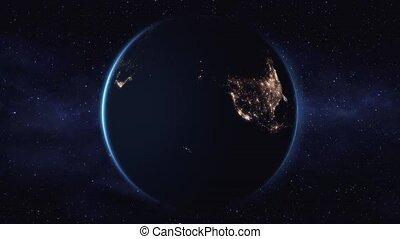 espace, planète, arrière-plan noir, la terre, rotation, vue