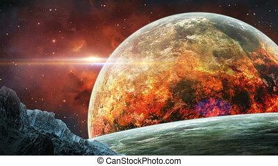 espace, planète, nébuleuse, rendre, nasa., meublé, rouges, ...