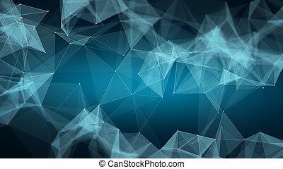 espace, poly, polygonal, bas, fond, triangles