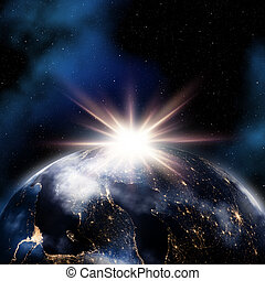 espace, résumé, lumières, fond, nuit, la terre