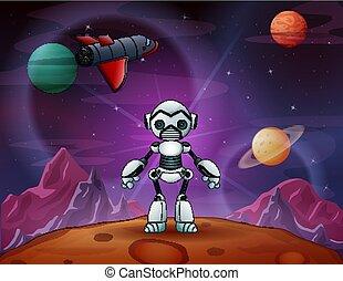 espace, robot, avion, extérieur, dessin animé