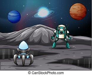 espace, robot, fond, vaisseau spatial, planètes