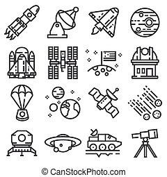 espace, set., icônes, vecteur, ligne, meute