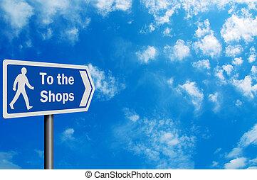 espace, signe, photo, 'to, réaliste, texte, shops', ton