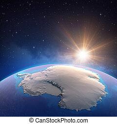 espace, soleil, antarctique, briller, sur