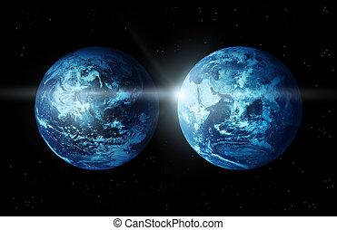 espace, soleil, deux, planète, levée, la terre, continent