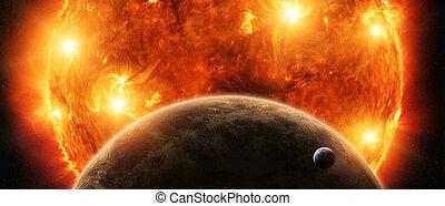 espace, soleil, lune, planète, exploser, fin, la terre