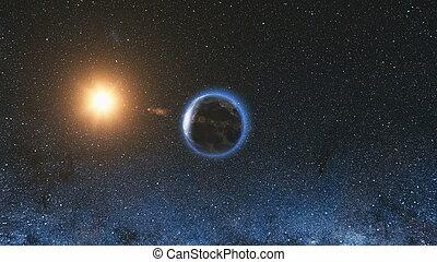espace, soleil, planète, univers, la terre, vue