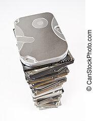 espace, sommet, lecteurs disque dur, copie, pile