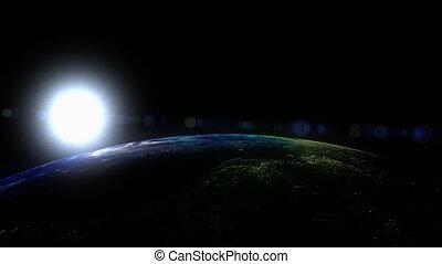 """espace, sun."""", bas, """"sunrise, vue, orbite"""