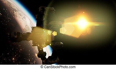 espace, sur, planète, station, international, la terre