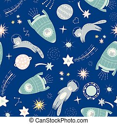 espace, système, vaisseau spatial, chat, design., vecteur, seamless, repeat., modèle, solaire