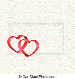 espace, texte, cadre, cœurs, ruban, 3d