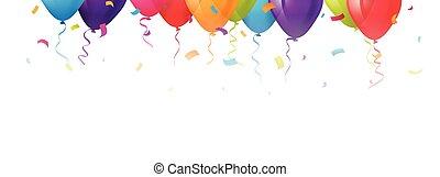 espace, texte, confetti, ballons, ton, célébration
