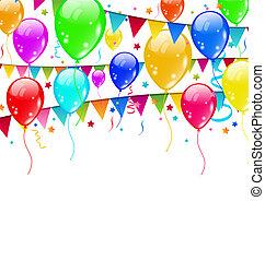 espace, texte, fête, confetti, ballons, coloré