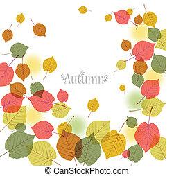 espace, texte, feuilles, voler, automne, fond