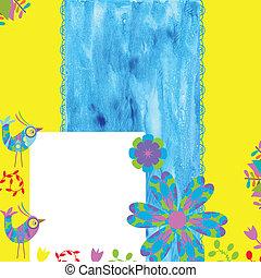 espace, texte, fond, floral, blanc, oiseaux, carte