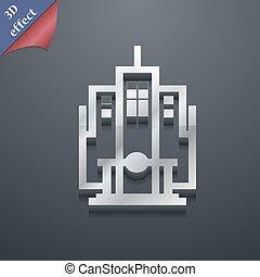espace, texte, moderne, symbole., style., branché, vecteur, conception, gratte-ciel, 3d, ton, icône