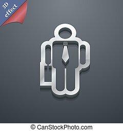 espace, texte, moderne, symbole., style., branché, vecteur, conception, homme affaires, 3d, ton, icône