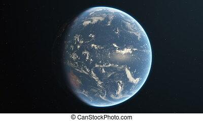 espace, tourner, réaliste, lentement, la terre, boucle