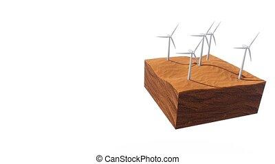 espace, turbines, blanc, copie, désert, vent