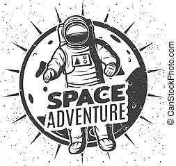 espace, vendange, étiquette, gabarit, monochrome, recherche