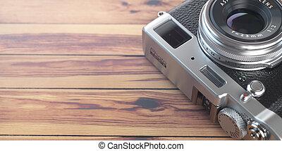 espace, vendange, text., arrière-plan., bois, retro, table, appareil photo