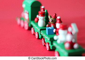 espace vert, fête, train bois, fond, monter loin, copie, rouges