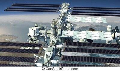 espace, voler, station, au-dessus, la terre, international
