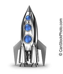 espacie cohete, aislado, blanco