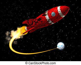 espacie cohete, de, tierra