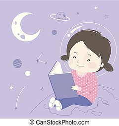 espacie ilustración, libro, niña, astronomía, niño